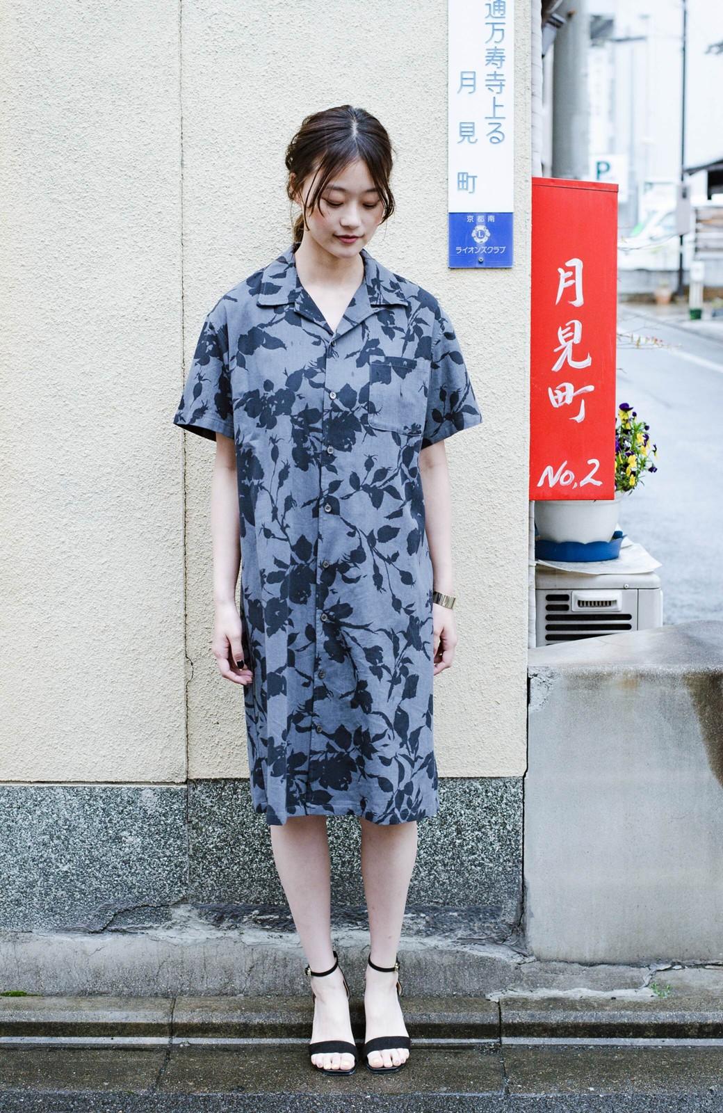 haco! 【コラボ3年目!】京都の浴衣屋さんと作った浴衣生地のシャツワンピース <グレー系その他>の商品写真2