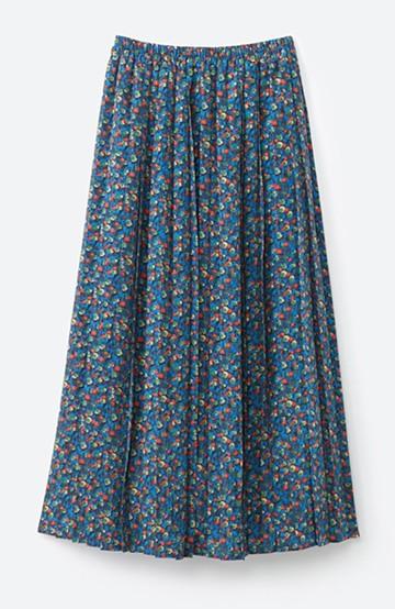 haco! これを着てお出かけしたくなる!はきやすくて気分が上がる花柄プリーツスカート <ブルー>の商品写真