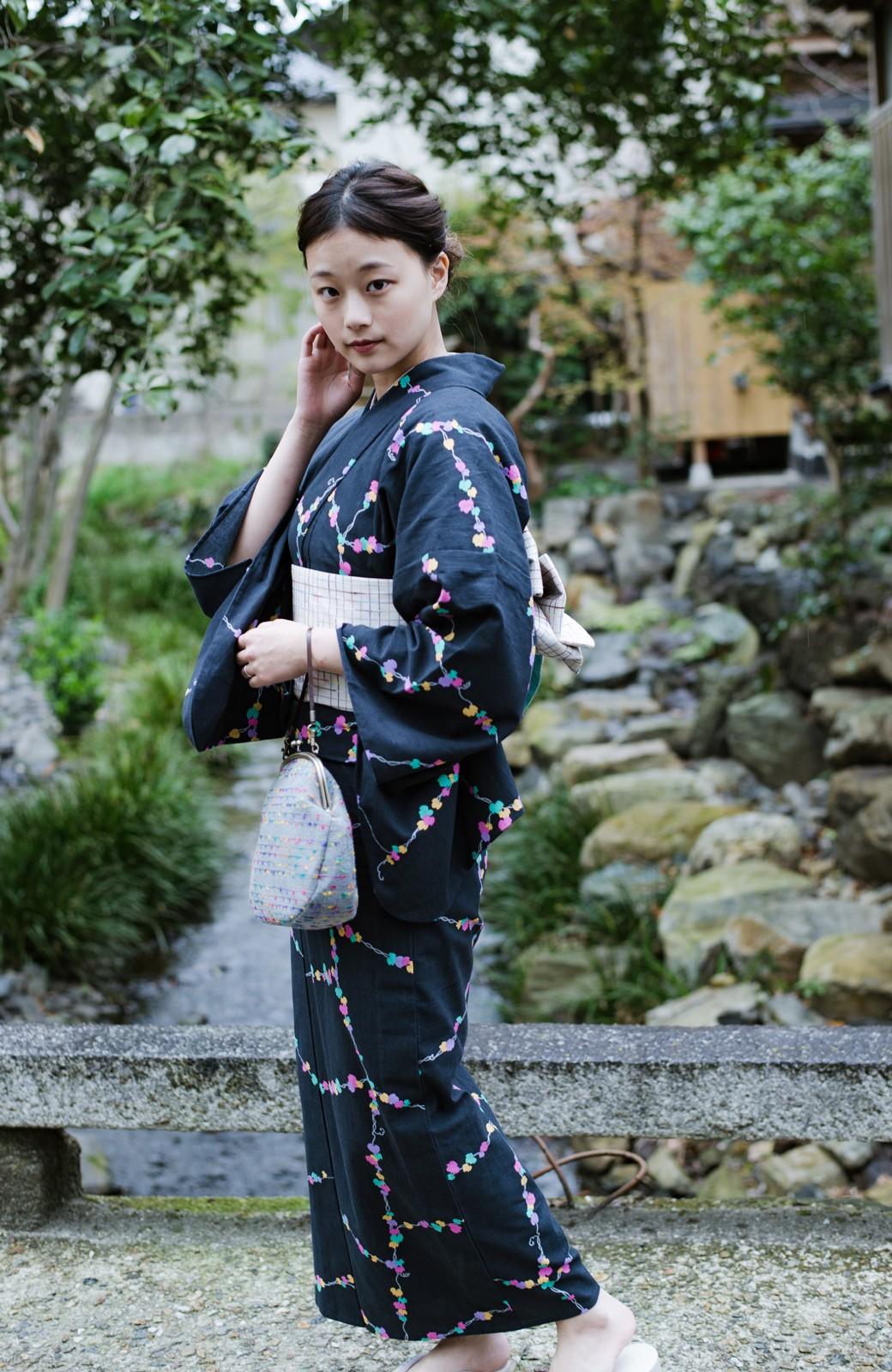 haco! ひでや工房 京都の綿ちりめん浴衣 <ブラック系その他>の商品写真1
