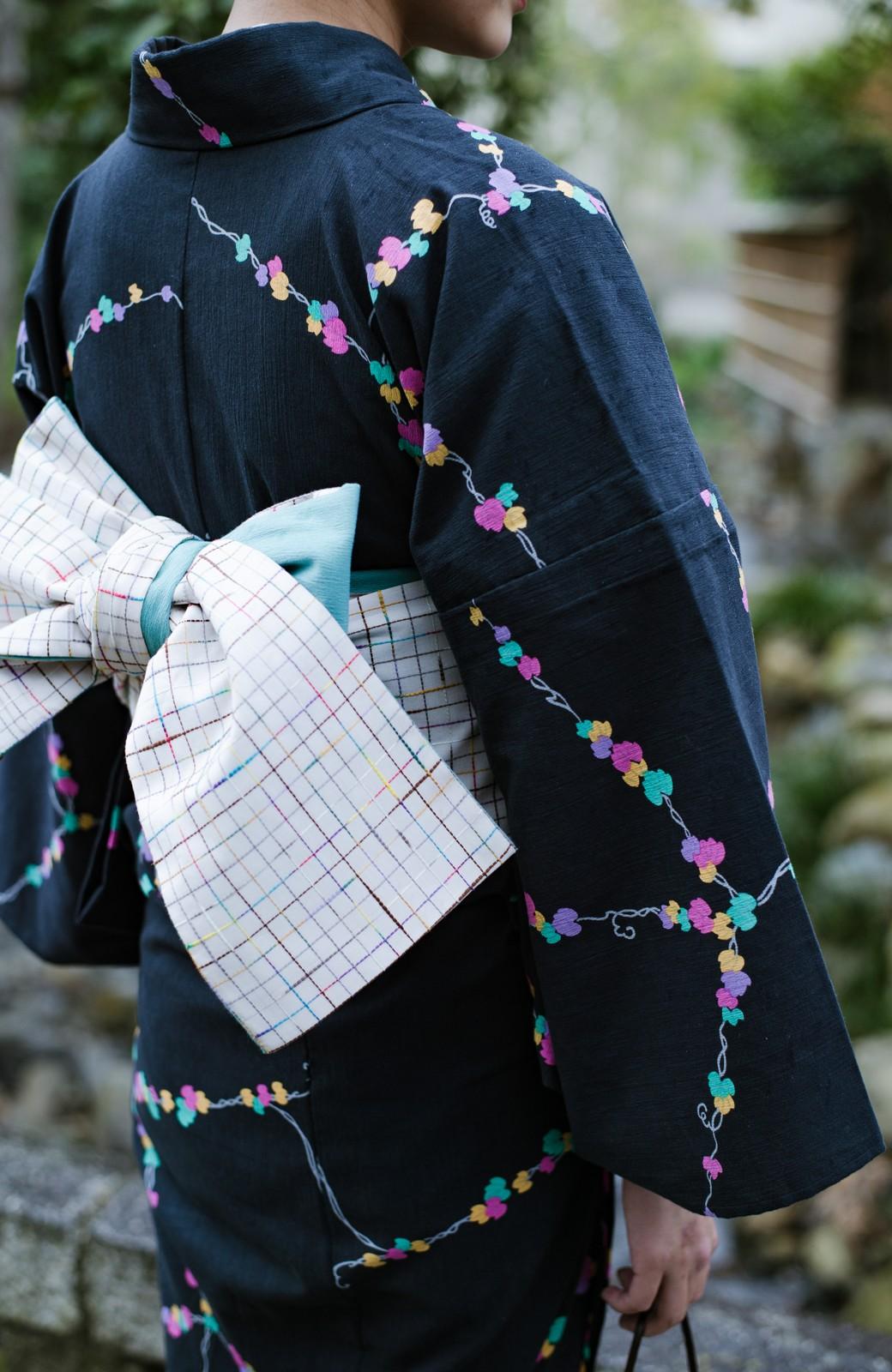 haco! ひでや工房 京都の綿ちりめん浴衣 <ブラック系その他>の商品写真8