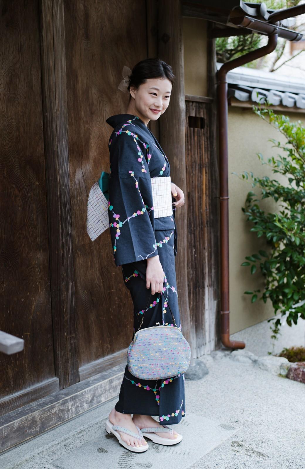 haco! ひでや工房 京都の綿ちりめん浴衣 <ブラック系その他>の商品写真16
