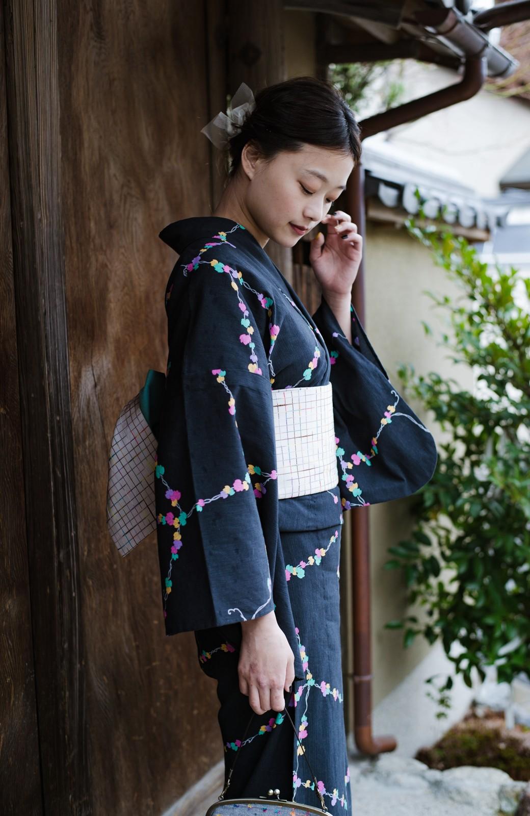 haco! ひでや工房 京都の綿ちりめん浴衣 <ブラック系その他>の商品写真2
