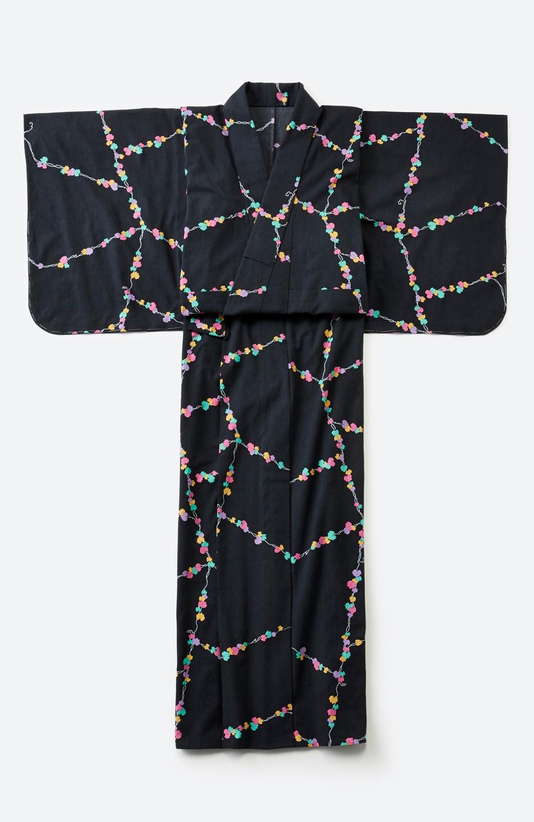 haco! ひでや工房 京都の綿ちりめん浴衣 <ブラック系その他>の商品写真3
