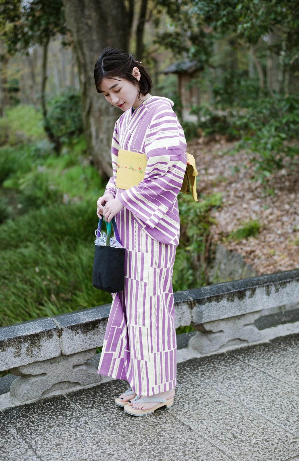 haco! ひでや工房 京都の綿ちりめん浴衣 <パープル>の商品写真1