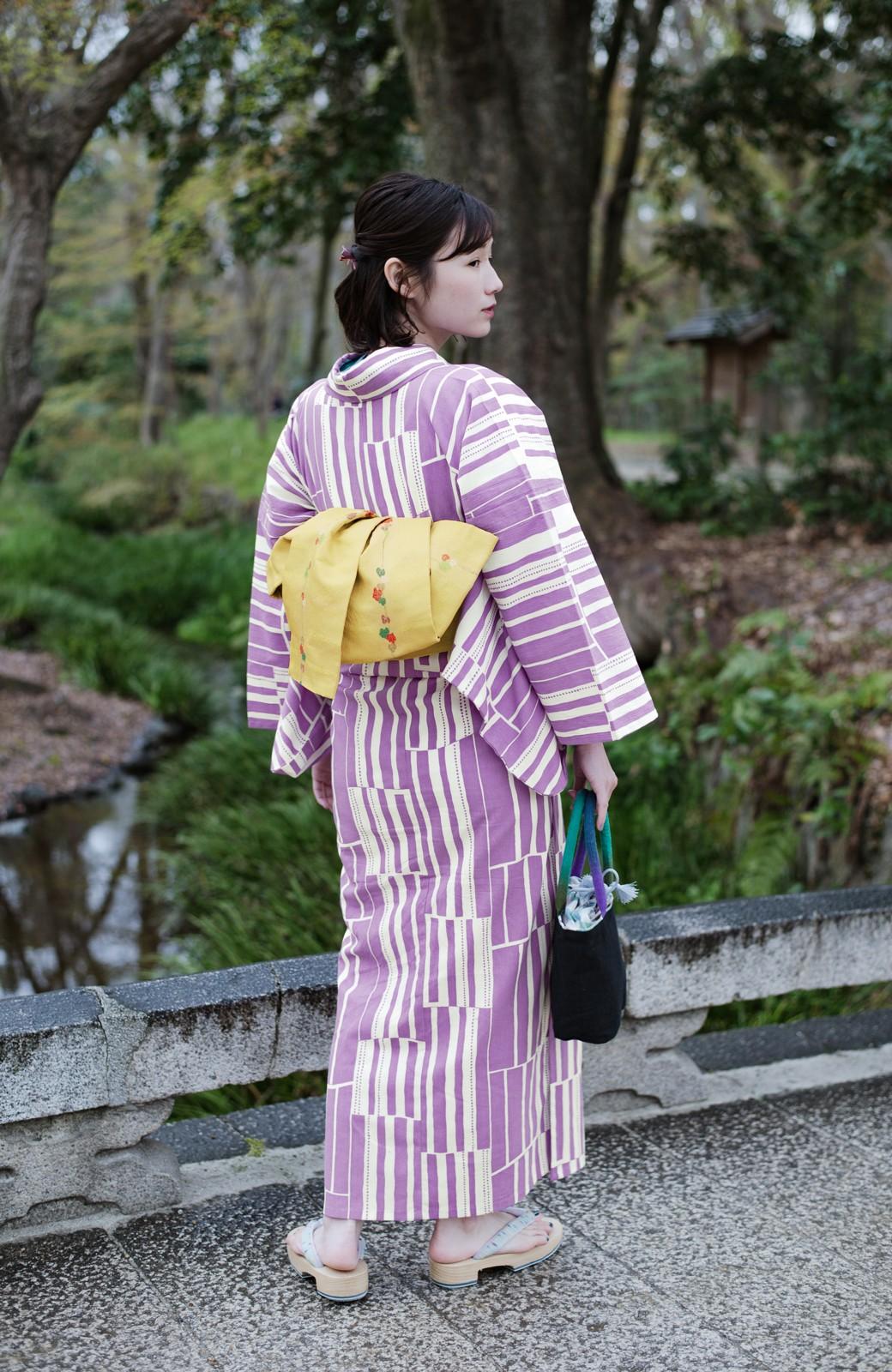 haco! ひでや工房 京都の綿ちりめん浴衣 <パープル>の商品写真13