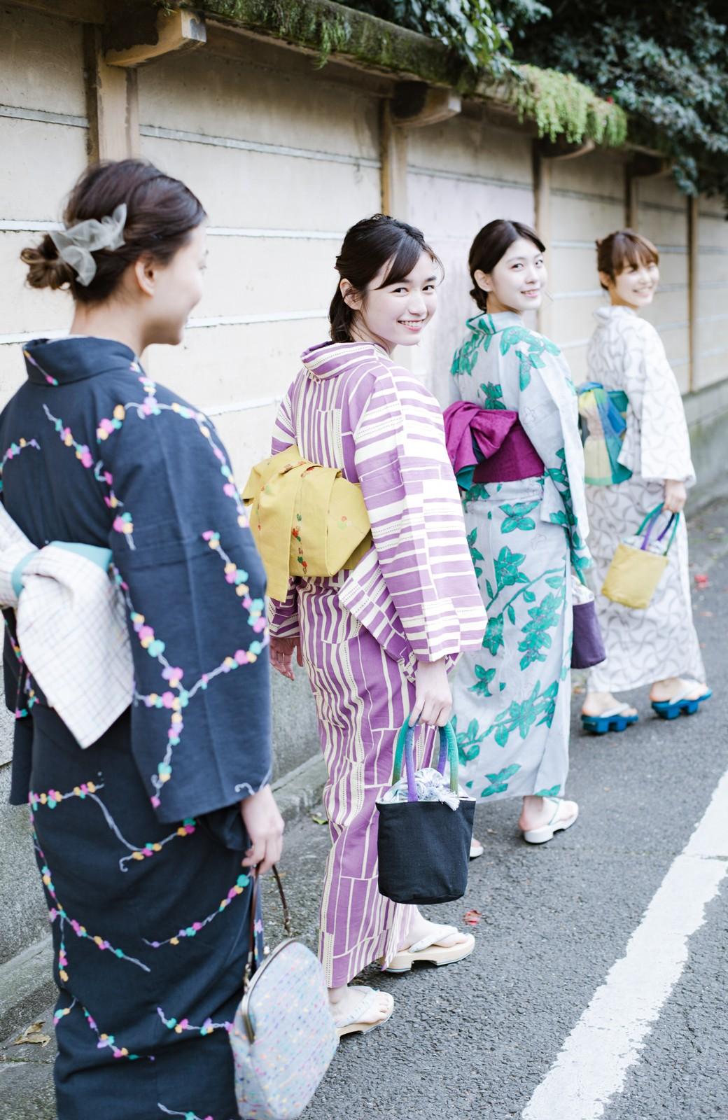 haco! ひでや工房 京都の綿ちりめん浴衣 <パープル>の商品写真16