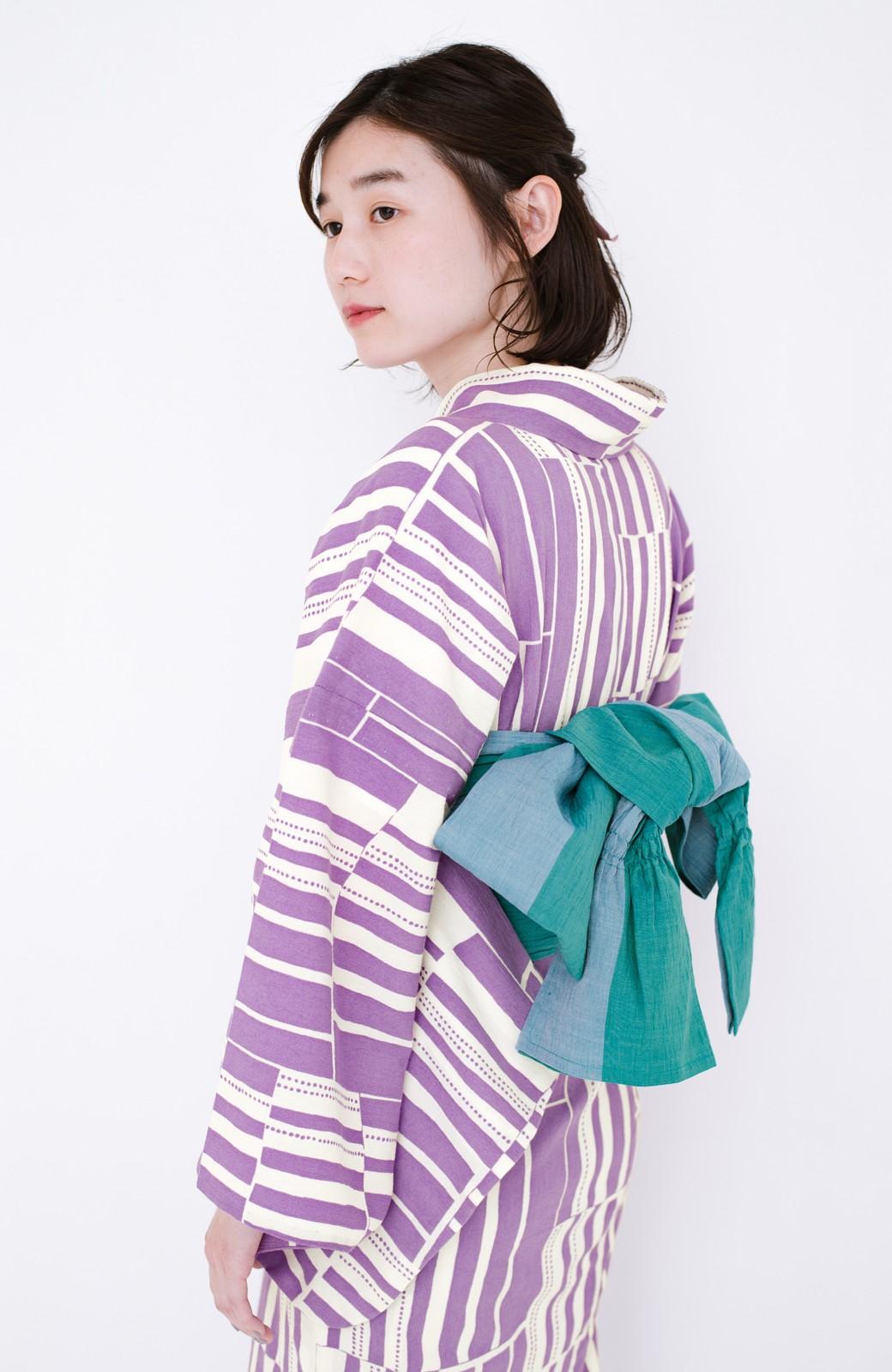 haco! ひでや工房 京都の綿ちりめん浴衣 <パープル>の商品写真18