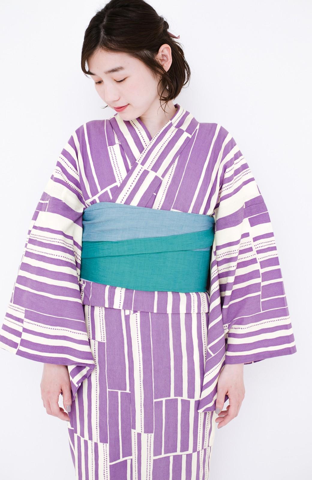 haco! ひでや工房 京都の綿ちりめん浴衣 <パープル>の商品写真19