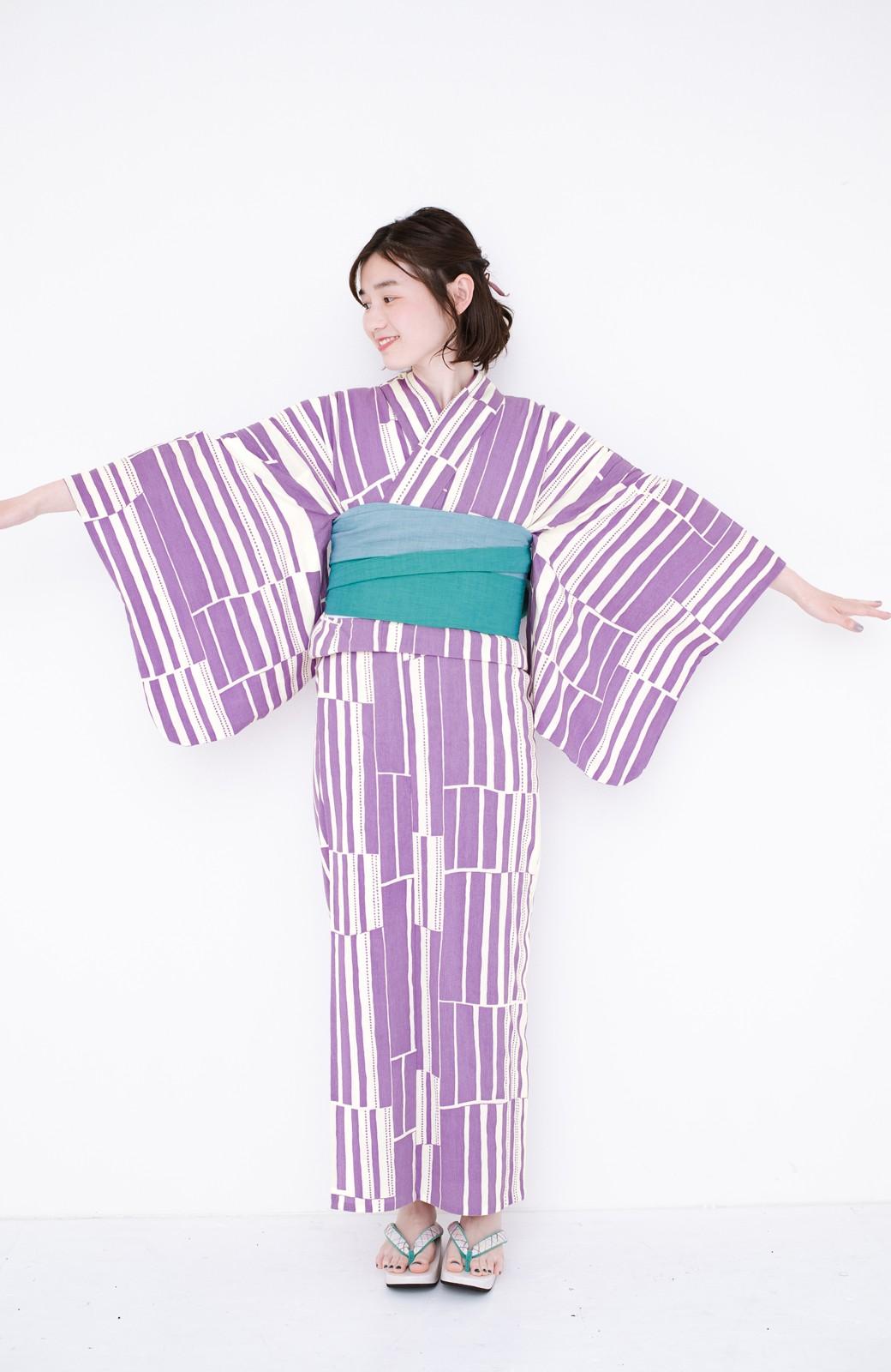 haco! ひでや工房 京都の綿ちりめん浴衣 <パープル>の商品写真20