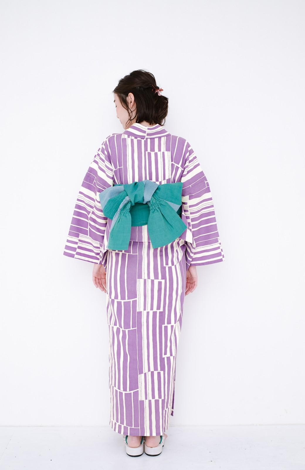 haco! ひでや工房 京都の綿ちりめん浴衣 <パープル>の商品写真21