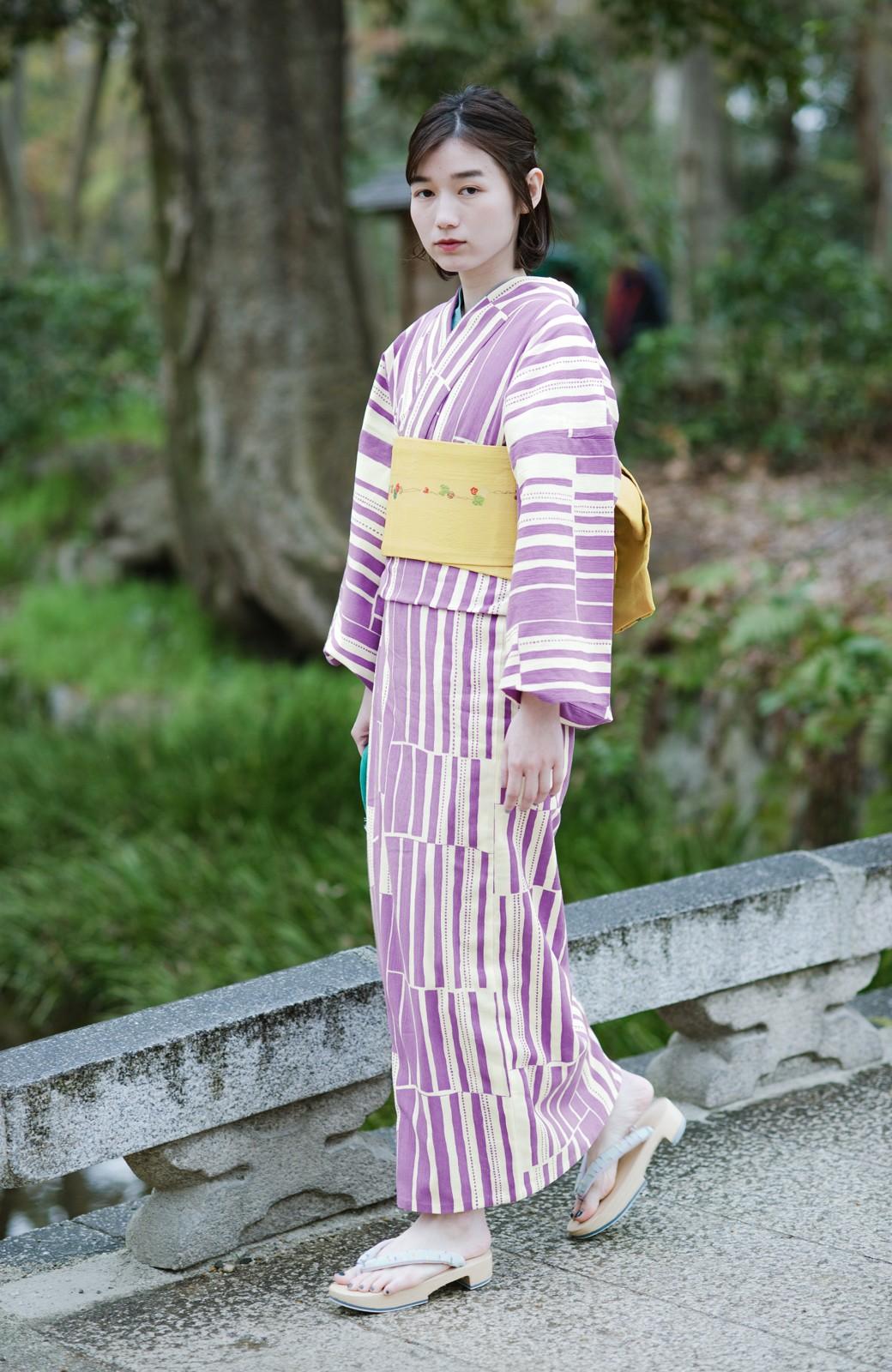 haco! ひでや工房 京都の綿ちりめん浴衣 <パープル>の商品写真5