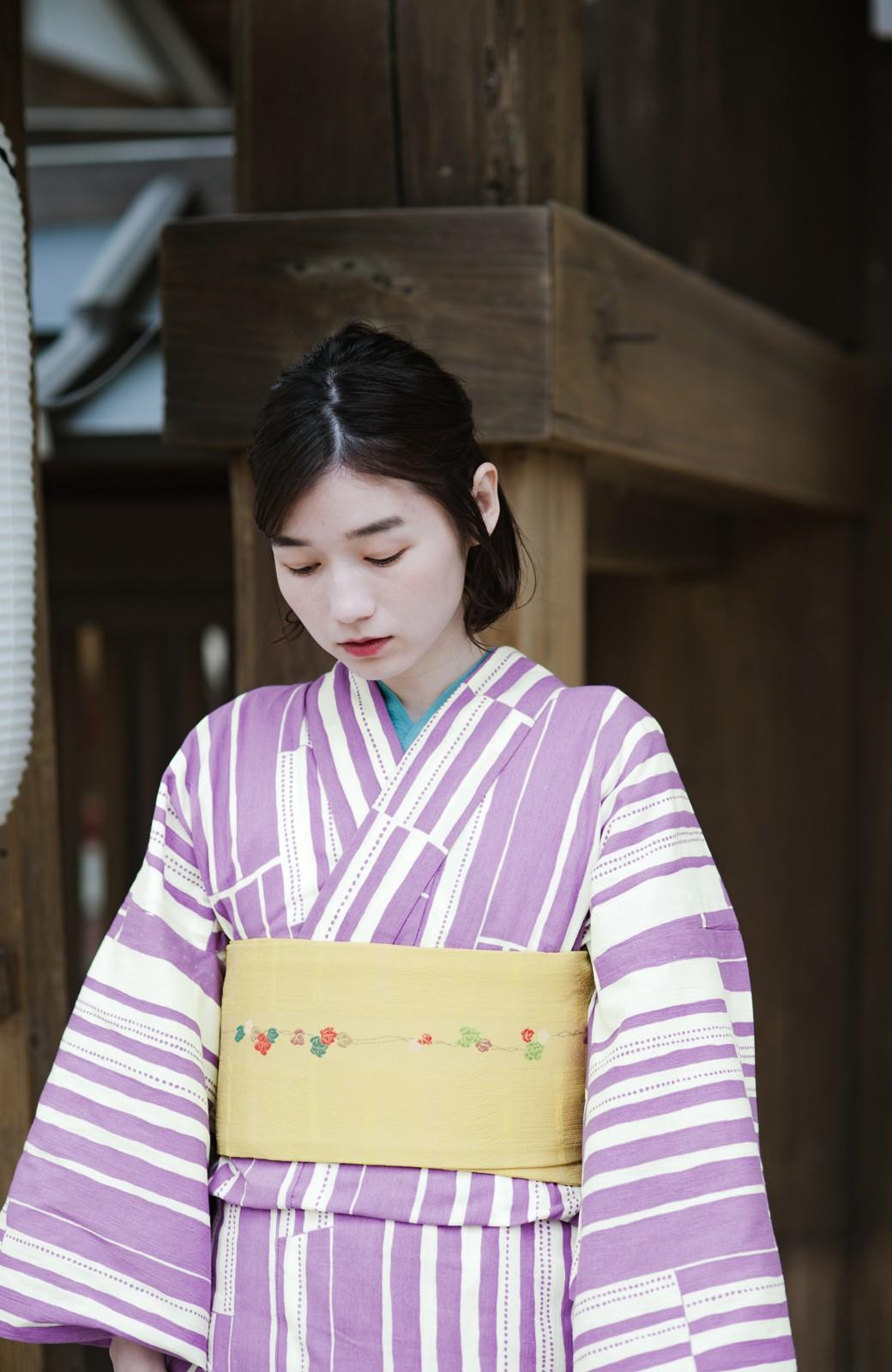 haco! ひでや工房 京都の綿ちりめん浴衣 <パープル>の商品写真2