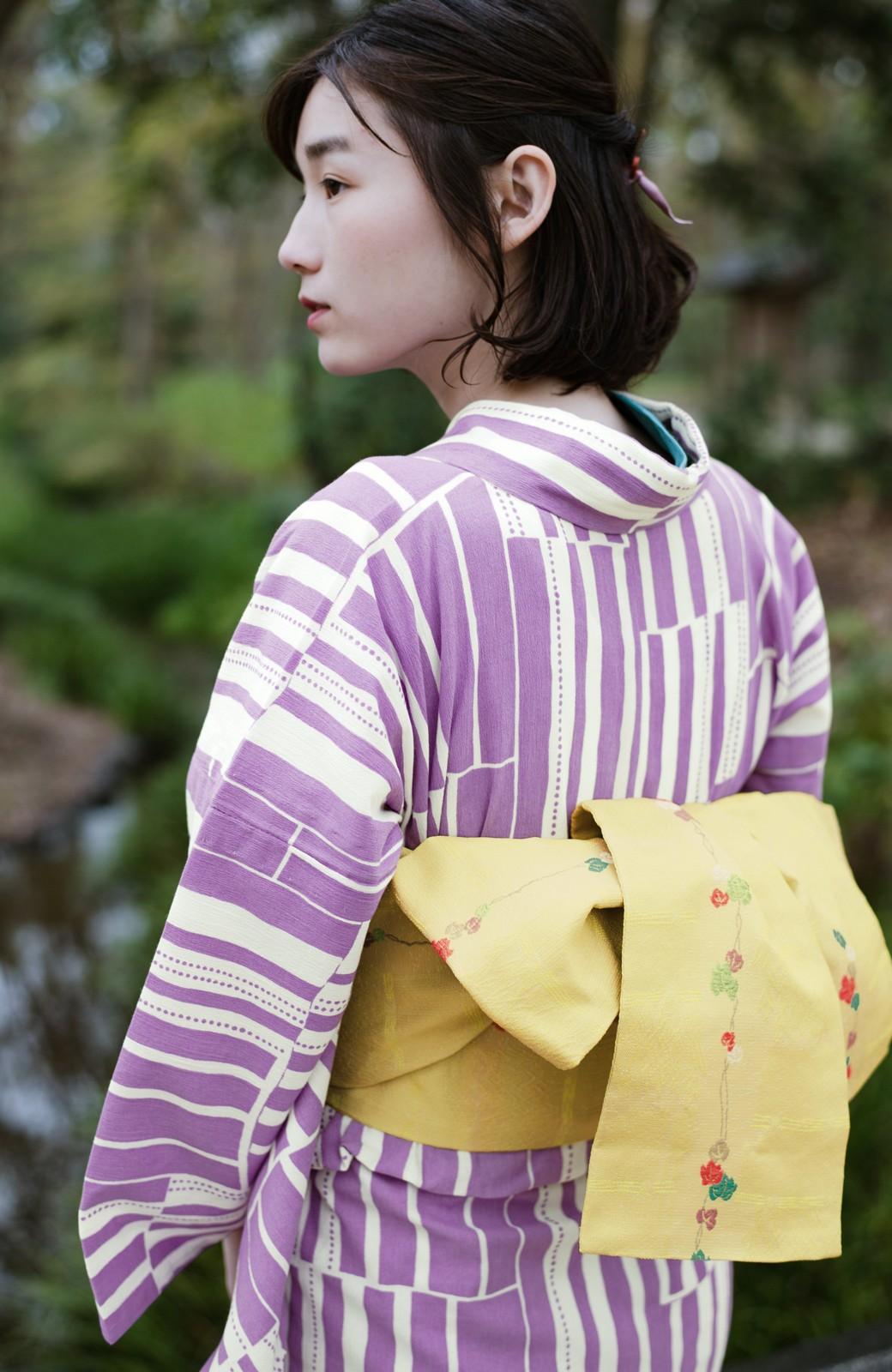 haco! ひでや工房 京都の綿ちりめん浴衣 <パープル>の商品写真7