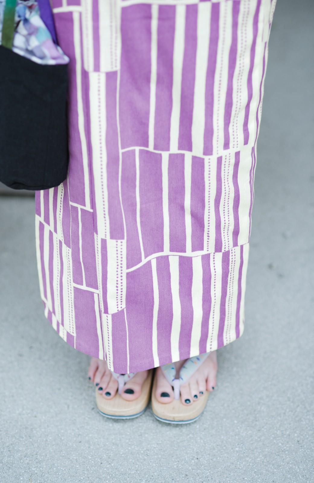 haco! ひでや工房 京都の綿ちりめん浴衣 <パープル>の商品写真8