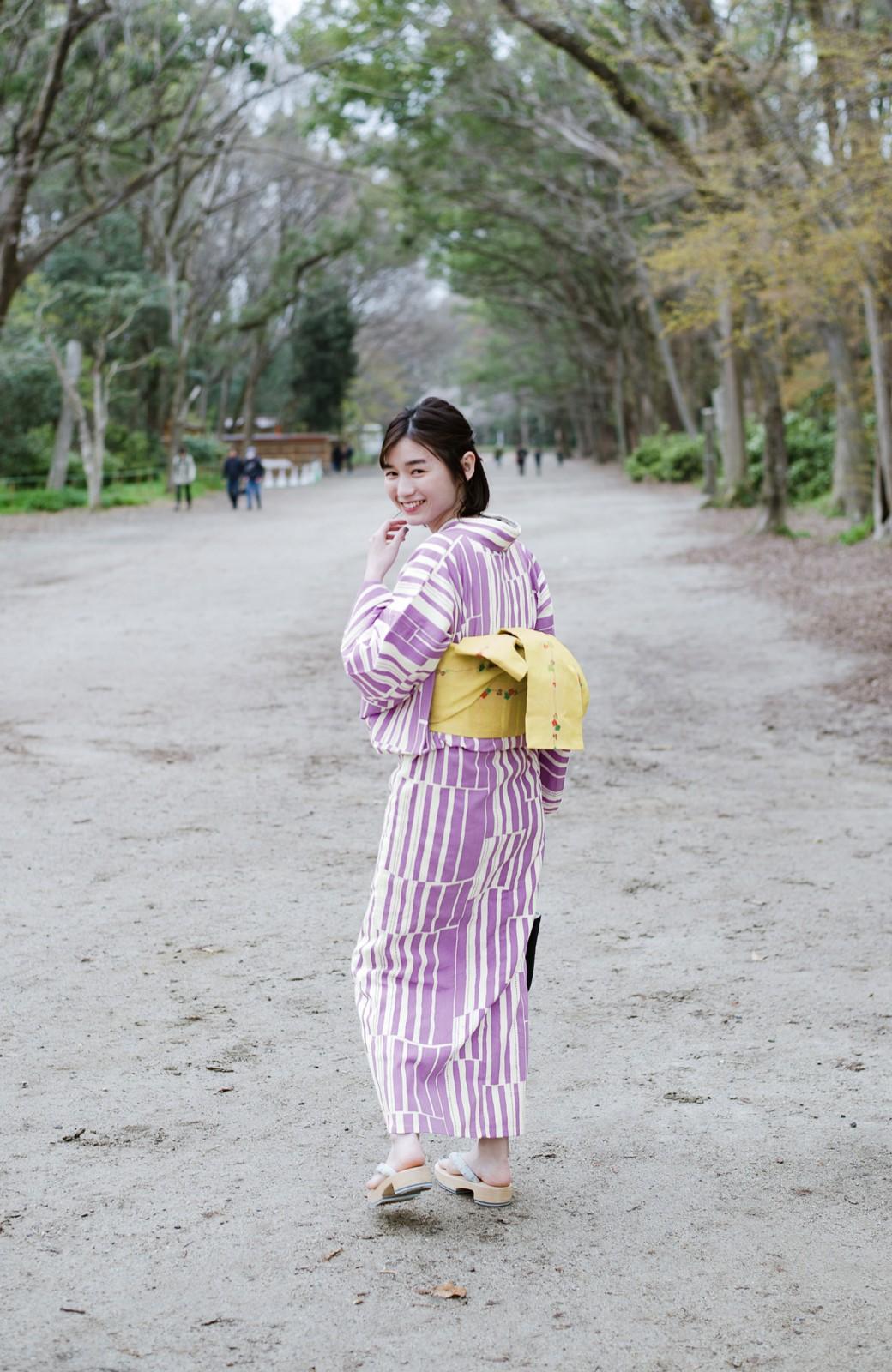 haco! ひでや工房 京都の綿ちりめん浴衣 <パープル>の商品写真10