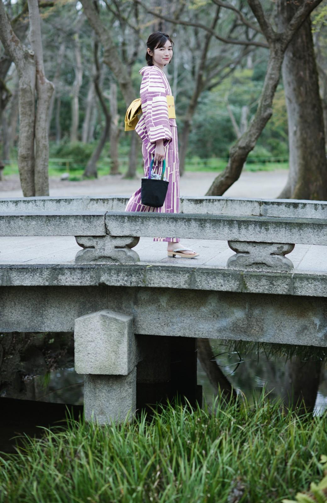 haco! ひでや工房 京都の綿ちりめん浴衣 <パープル>の商品写真11