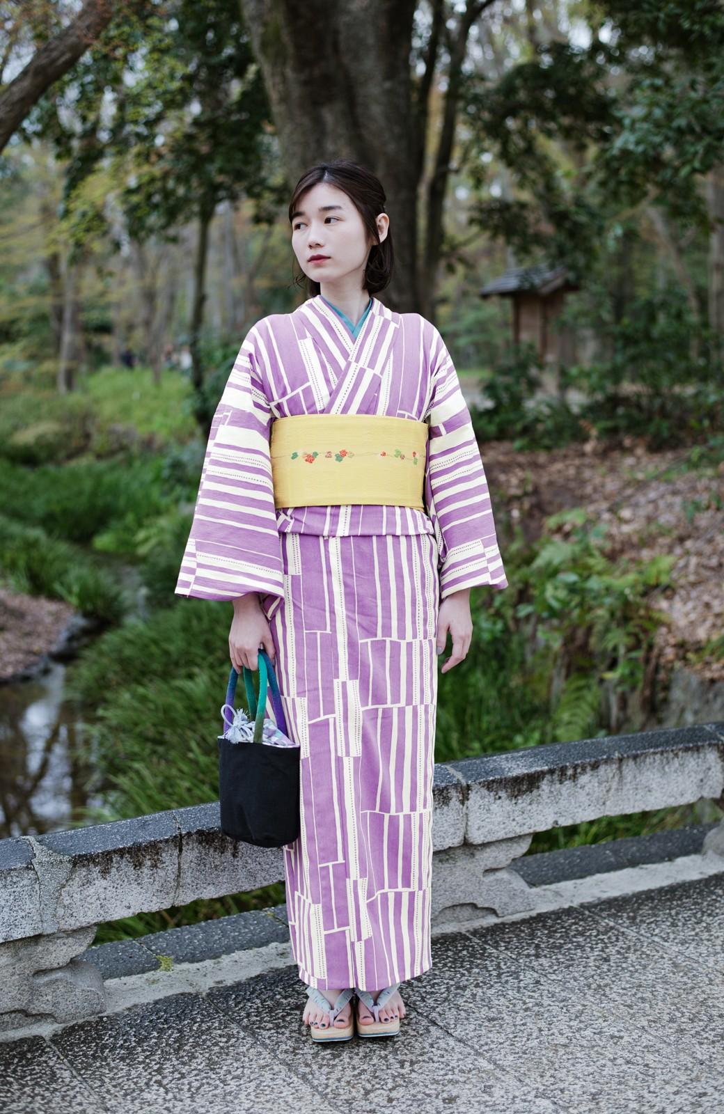 haco! ひでや工房 京都の綿ちりめん浴衣 <パープル>の商品写真12