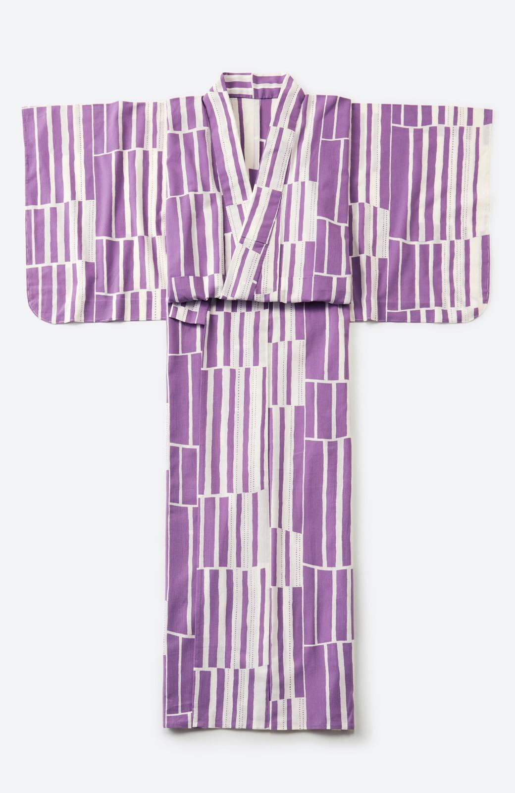 haco! ひでや工房 京都の綿ちりめん浴衣 <パープル>の商品写真3