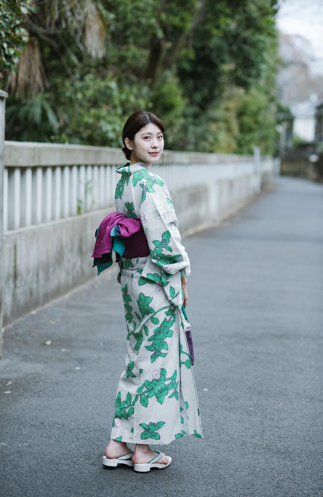 haco! ひでや工房 京都のからみ織ジャカード浴衣  <グレー系その他>の商品写真13
