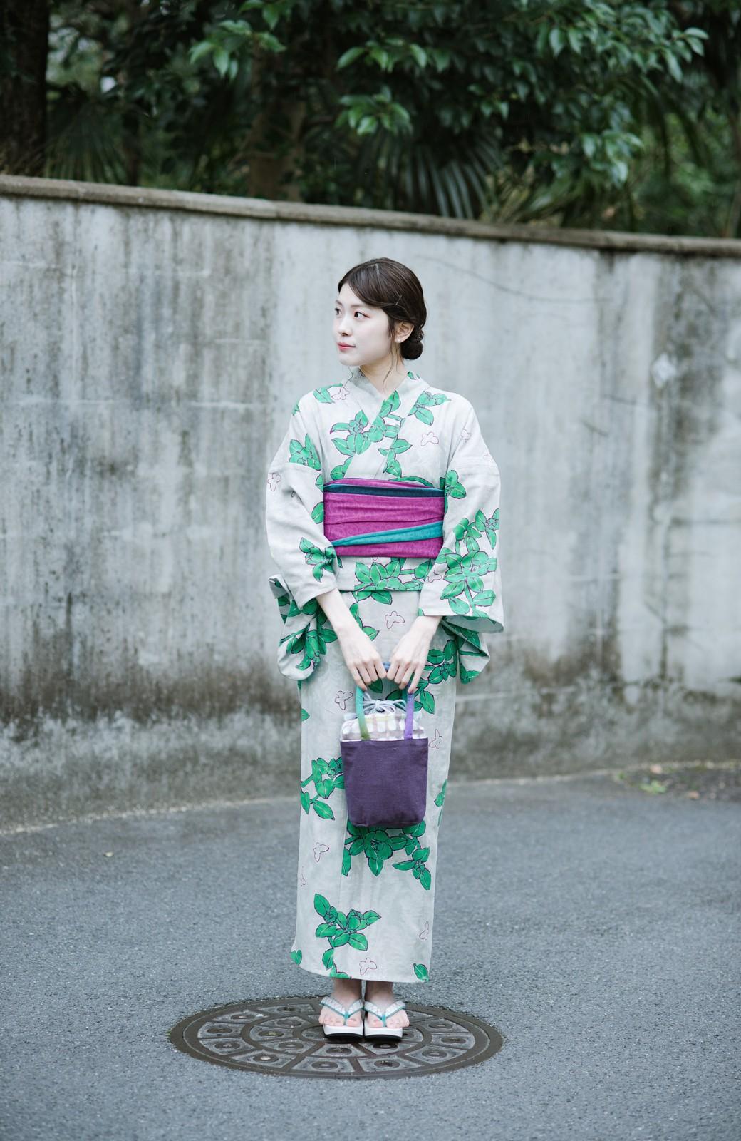 haco! ひでや工房 京都のからみ織ジャカード浴衣  <グレー系その他>の商品写真14