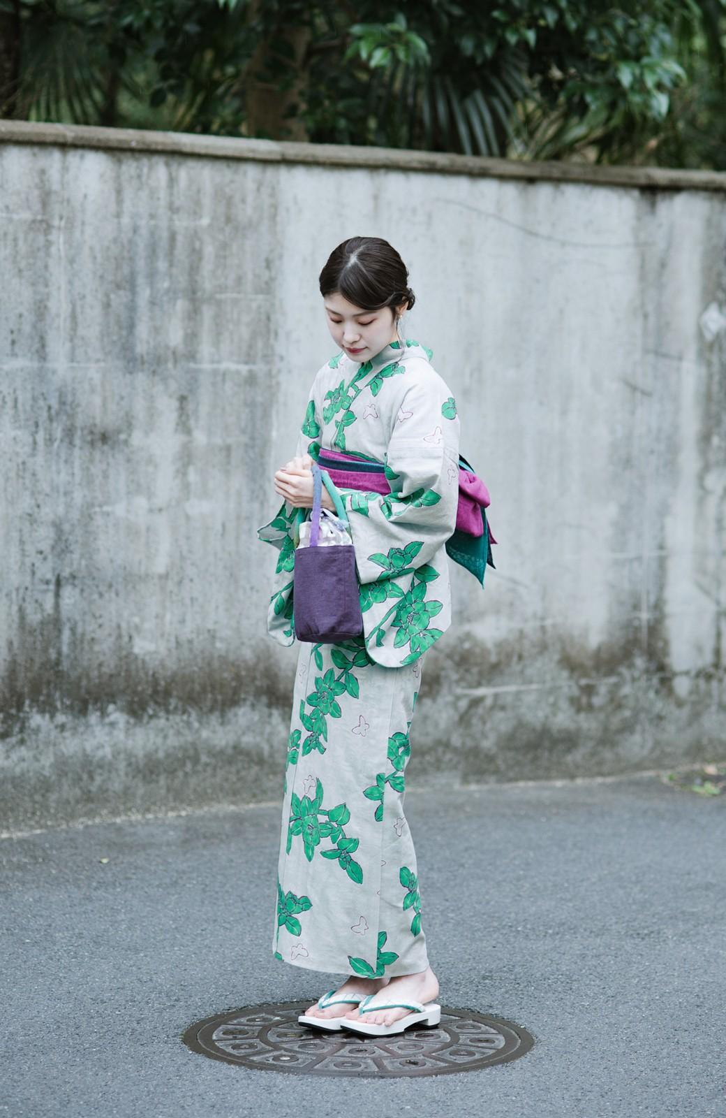 haco! ひでや工房 京都のからみ織ジャカード浴衣  <グレー系その他>の商品写真15