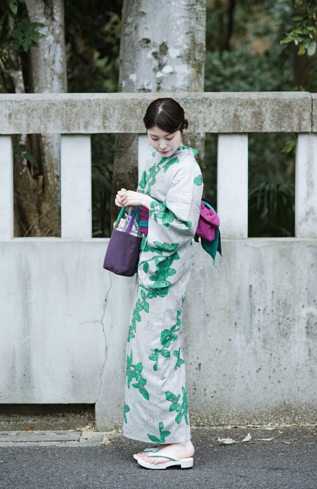 haco! ひでや工房 京都のからみ織ジャカード浴衣  <グレー系その他>の商品写真4