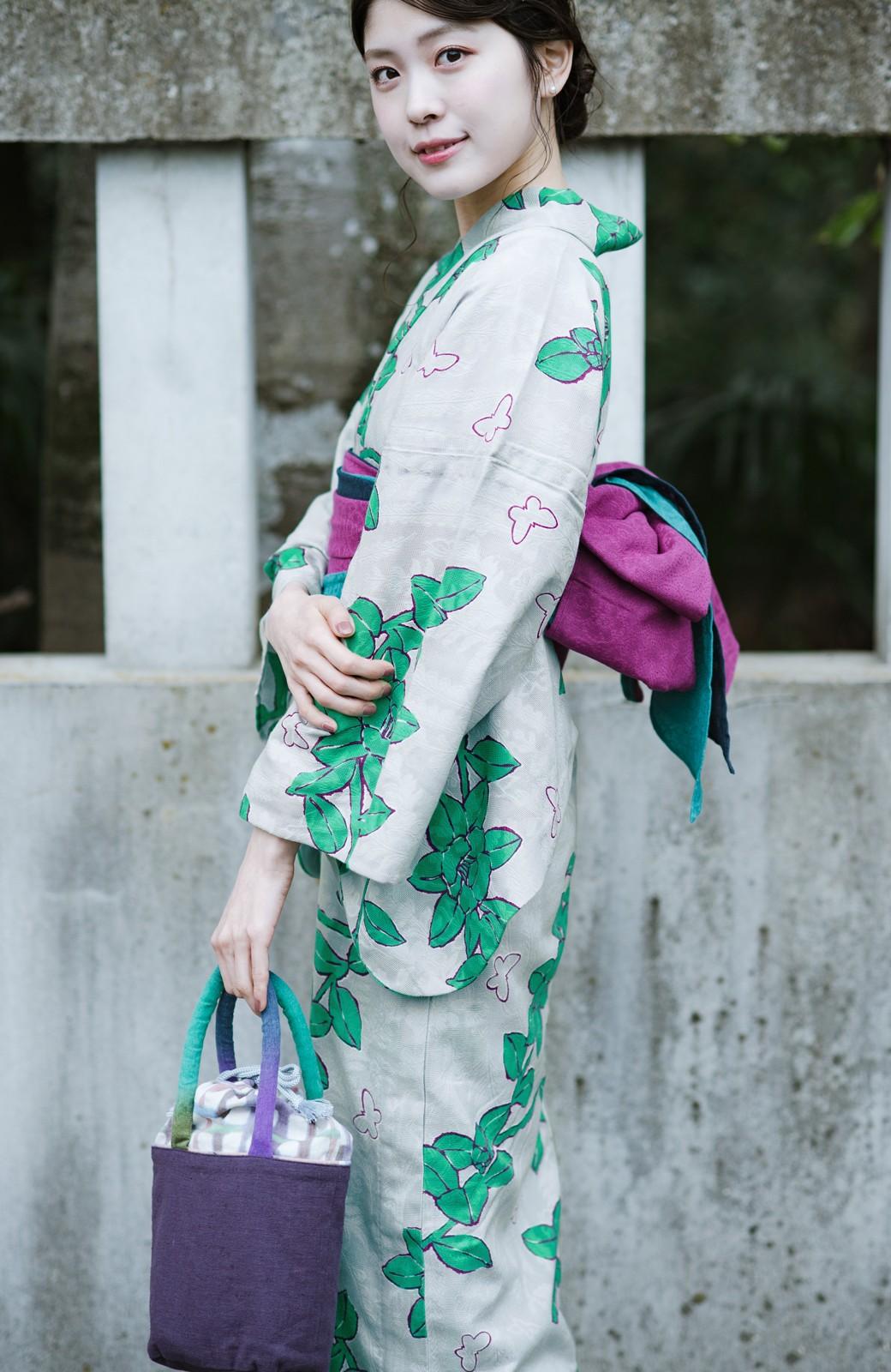 haco! ひでや工房 京都のからみ織ジャカード浴衣  <グレー系その他>の商品写真5