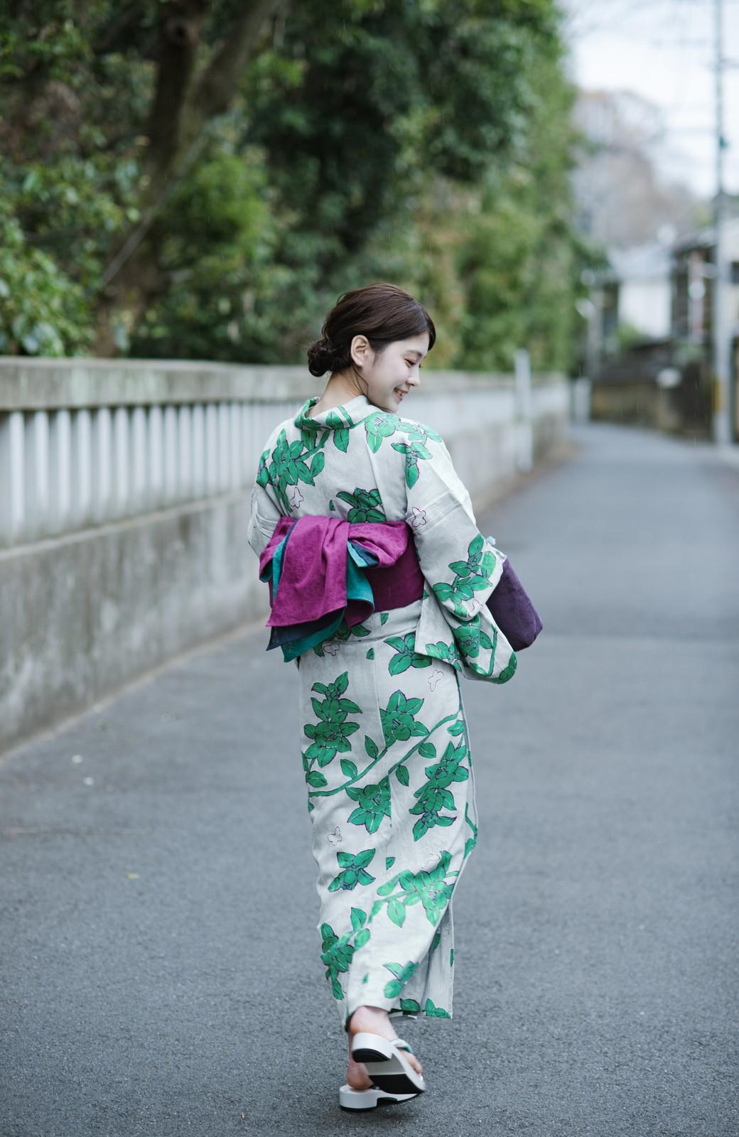 haco! ひでや工房 京都のからみ織ジャカード浴衣  <グレー系その他>の商品写真1