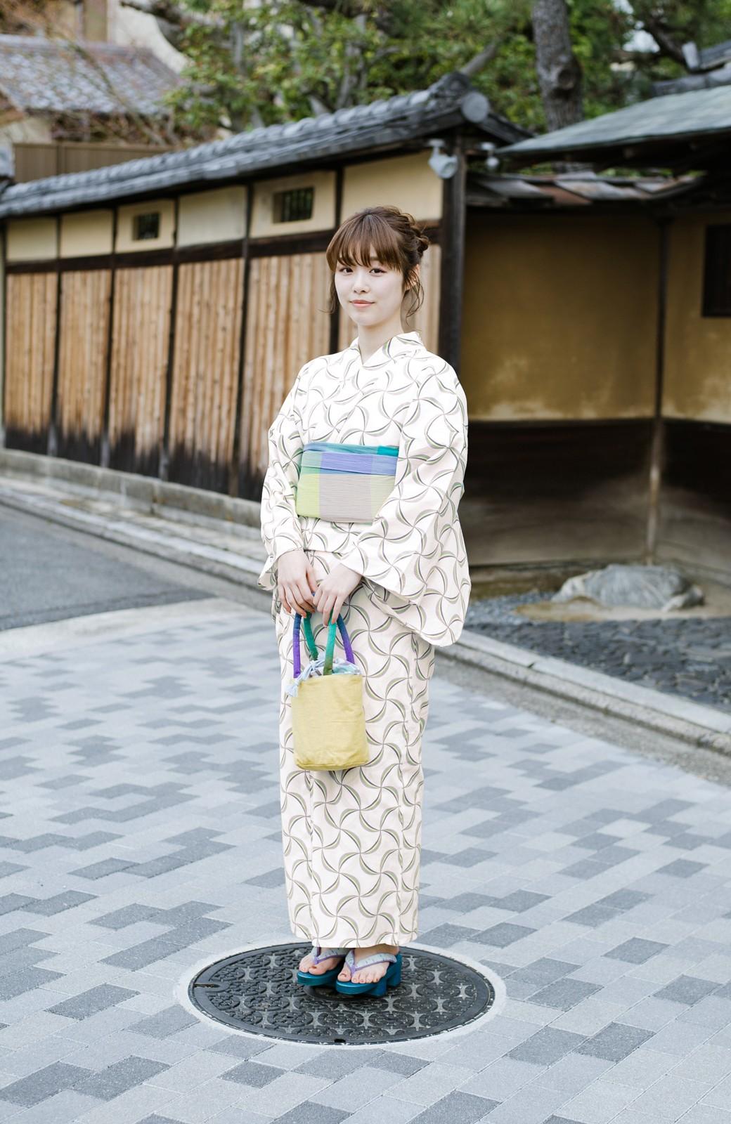 haco! ひでや工房 京都の綿ちりめん浴衣 <ホワイト系その他>の商品写真13