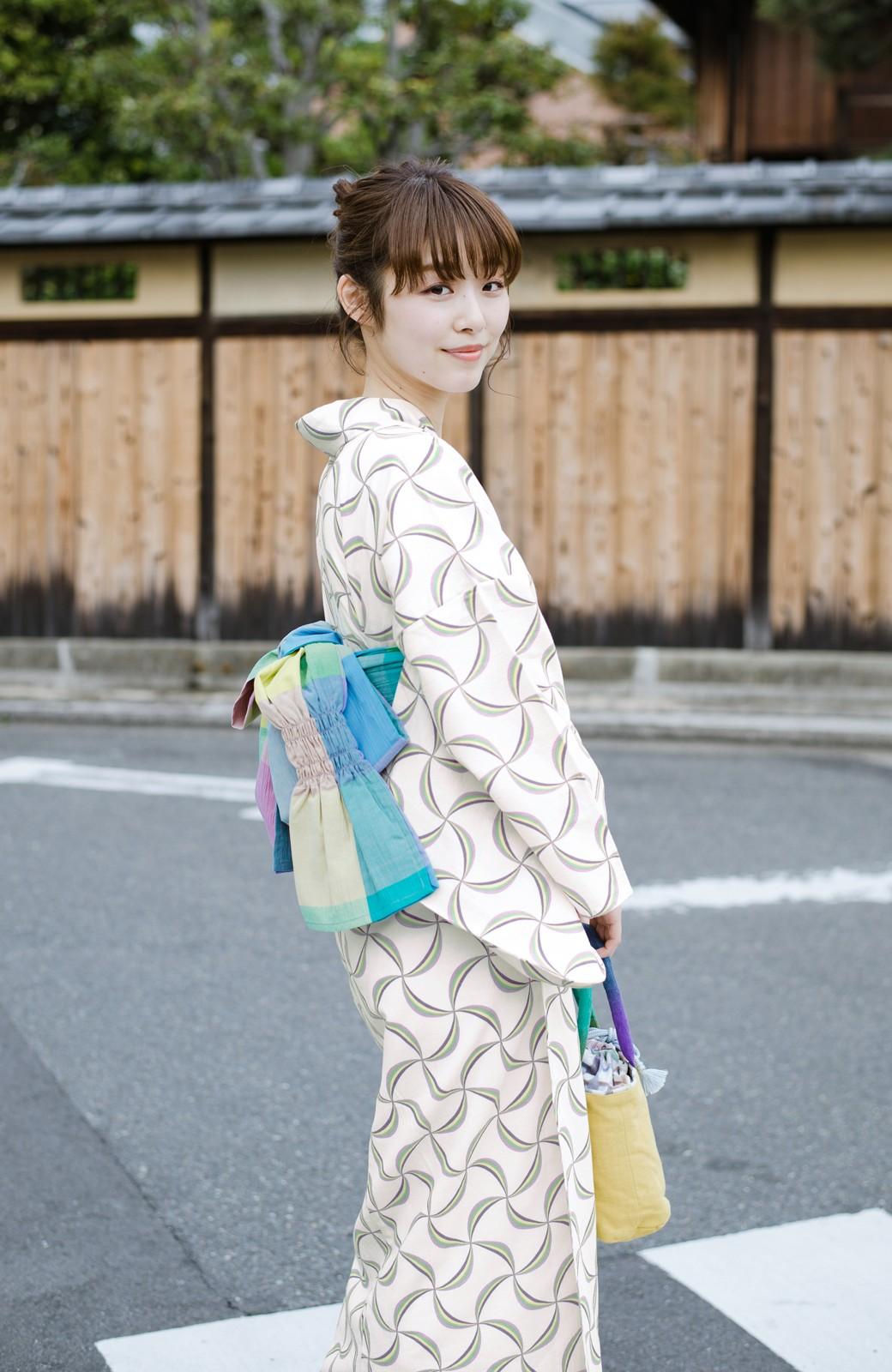 haco! ひでや工房 京都の綿ちりめん浴衣 <ホワイト系その他>の商品写真1