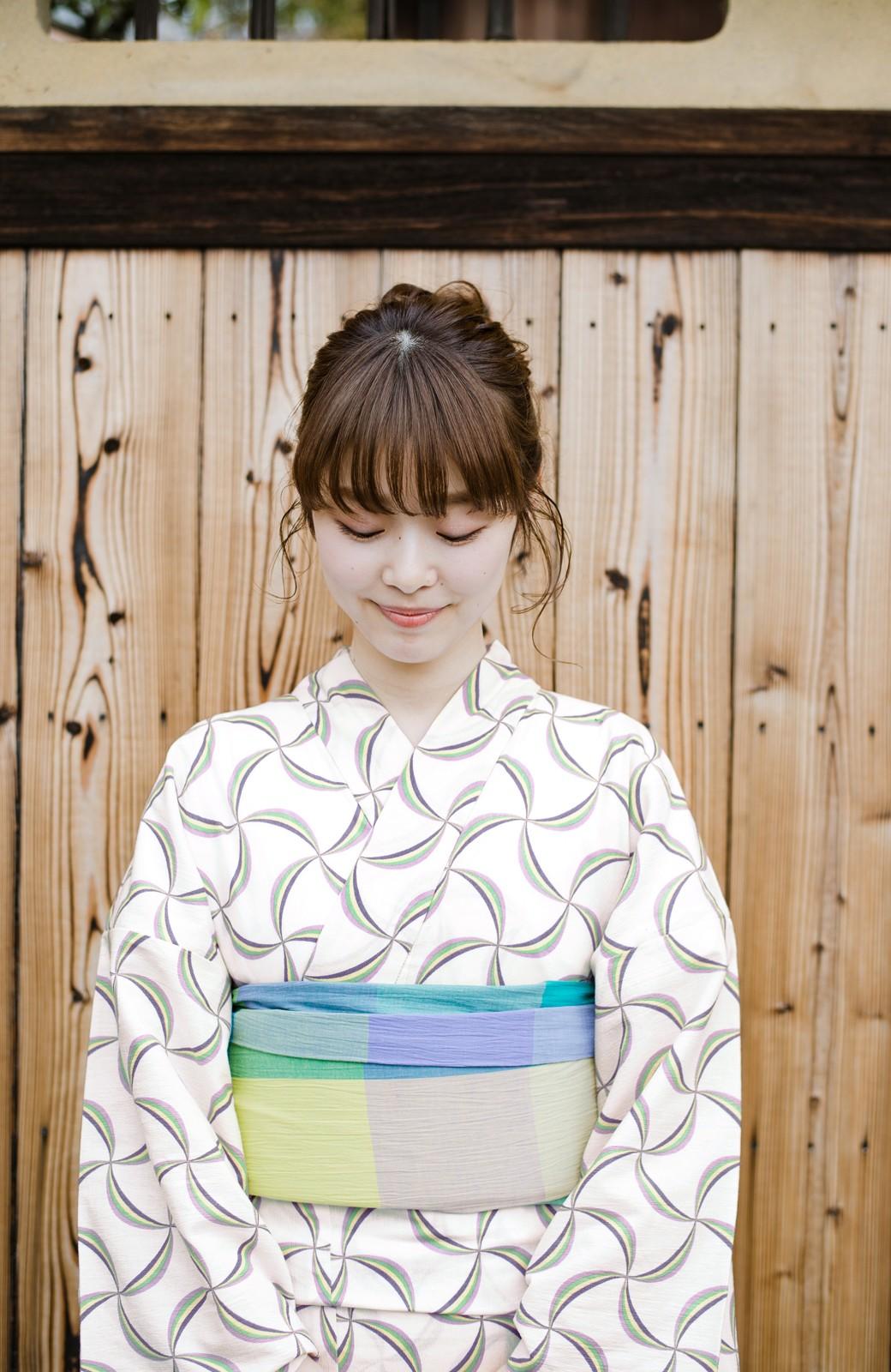haco! ひでや工房 京都の綿ちりめん浴衣 <ホワイト系その他>の商品写真4