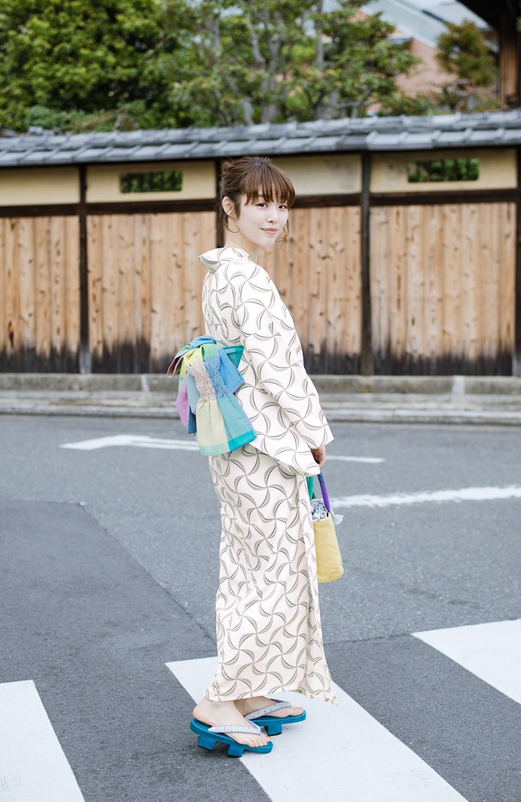 haco! ひでや工房 京都の綿ちりめん浴衣 <ホワイト系その他>の商品写真8