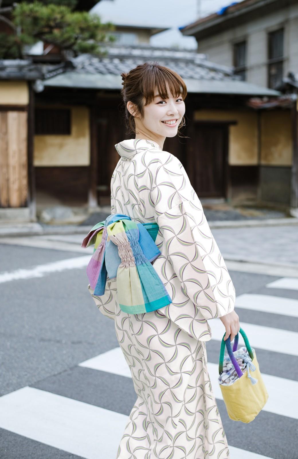 haco! ひでや工房 京都の綿ちりめん浴衣 <ホワイト系その他>の商品写真9