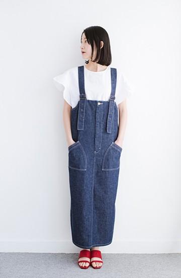 haco! Lady Lee パッチポケットがかわいいジャンパースカート <インディゴブルー>の商品写真
