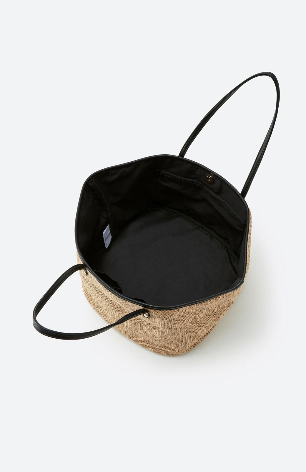 haco! ピクニックにも毎日のおともにも ざっくり入って便利な大きめトートバッグ <ブラック>の商品写真4