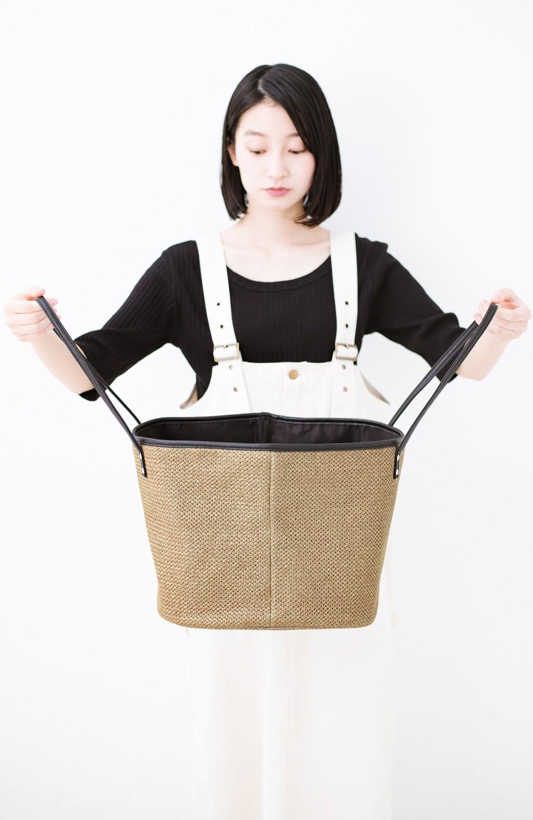 haco! ピクニックにも毎日のおともにも ざっくり入って便利な大きめトートバッグ <ブラック>の商品写真5