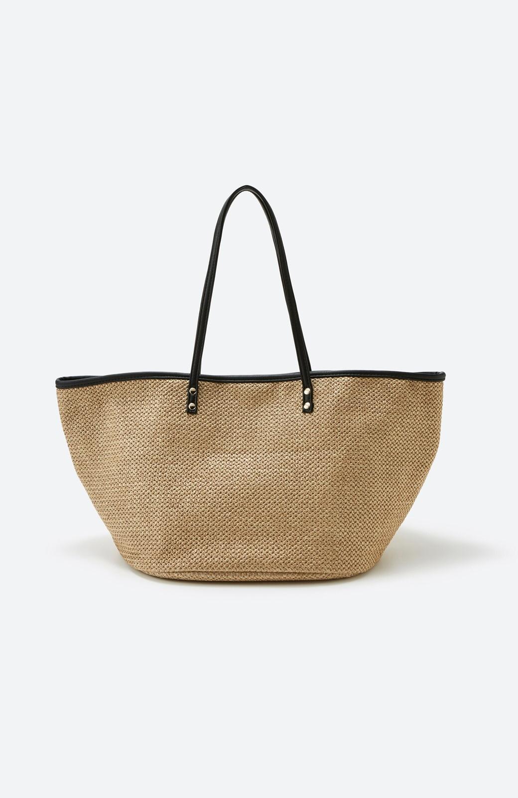 haco! ピクニックにも毎日のおともにも ざっくり入って便利な大きめトートバッグ <ブラック>の商品写真2