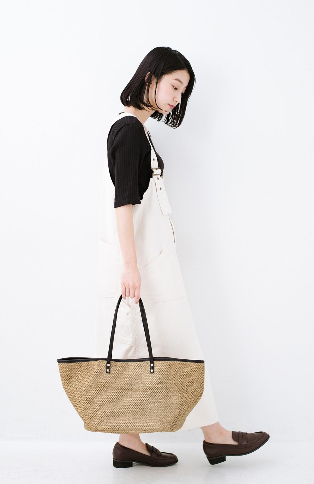 haco! ピクニックにも毎日のおともにも ざっくり入って便利な大きめトートバッグ <ブラック>の商品写真7