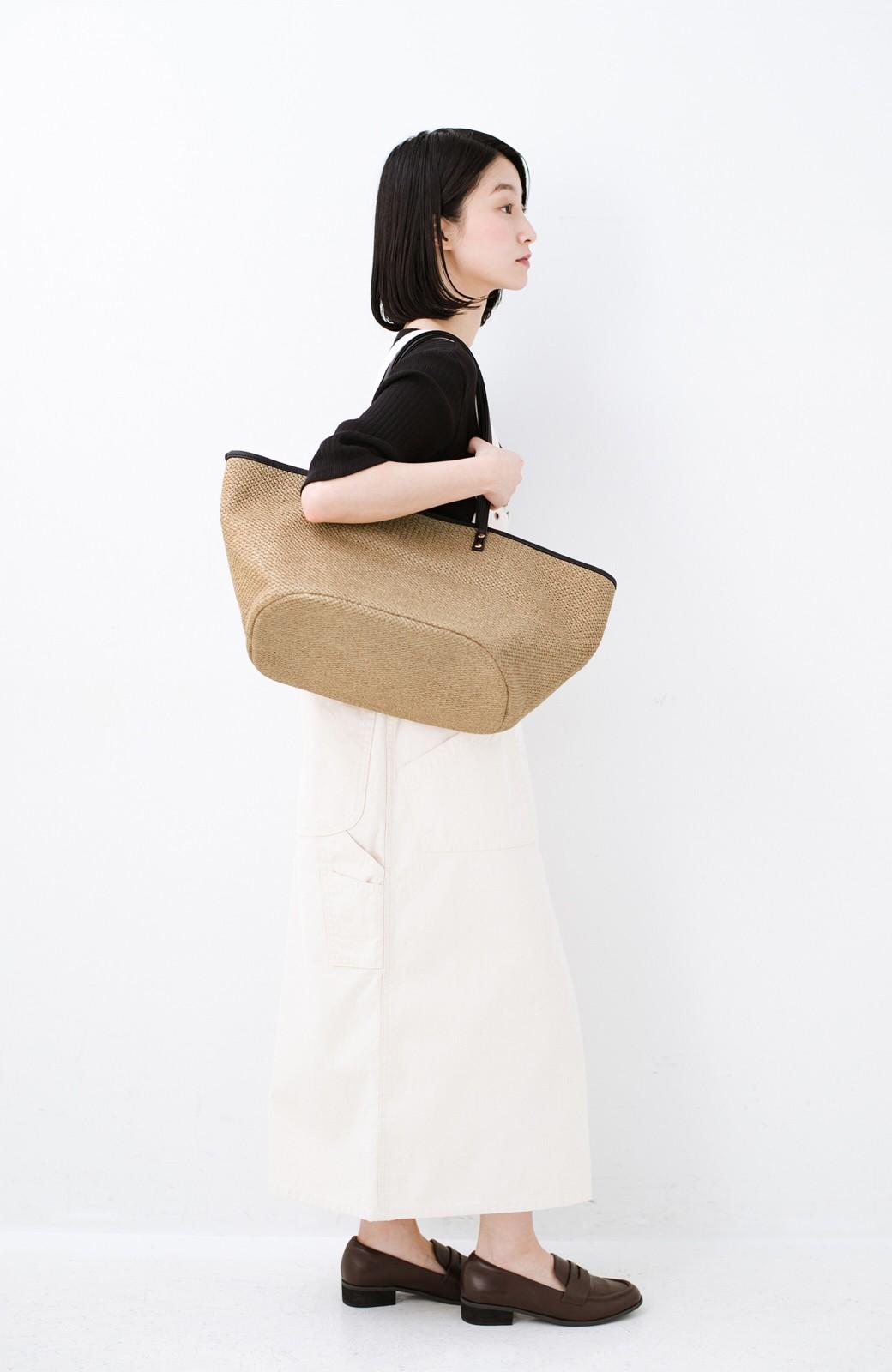 haco! ピクニックにも毎日のおともにも ざっくり入って便利な大きめトートバッグ <ブラック>の商品写真8