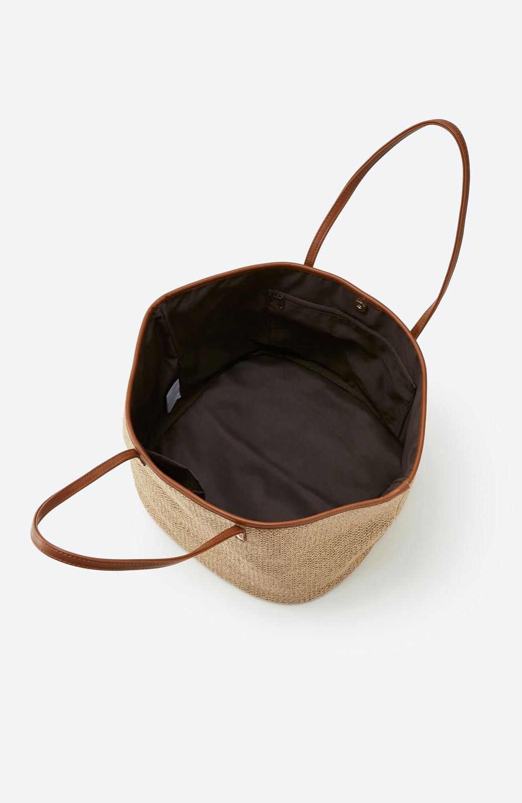 haco! ピクニックにも毎日のおともにも ざっくり入って便利な大きめトートバッグ <ブラウン>の商品写真4