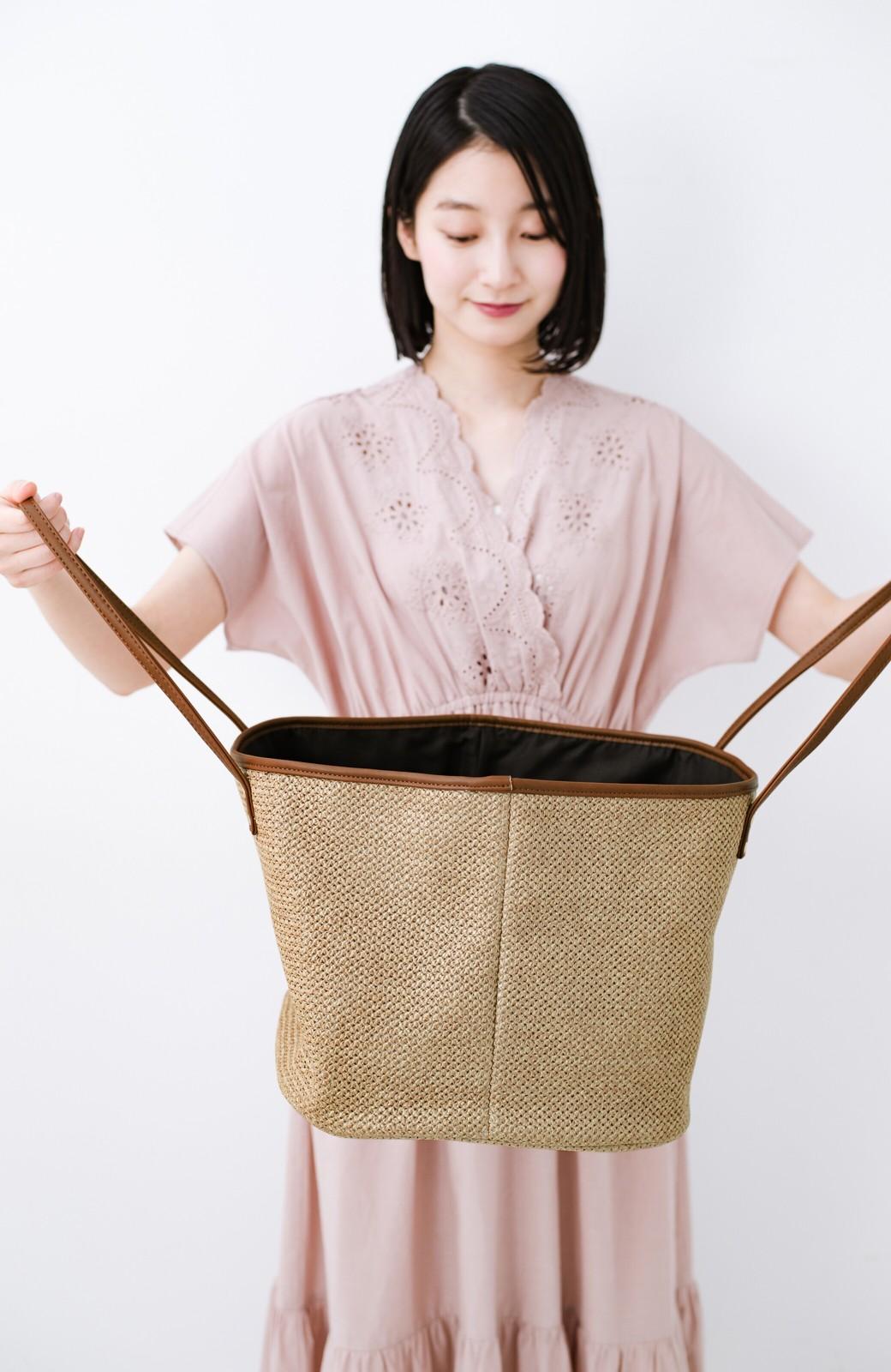 haco! ピクニックにも毎日のおともにも ざっくり入って便利な大きめトートバッグ <ブラウン>の商品写真6