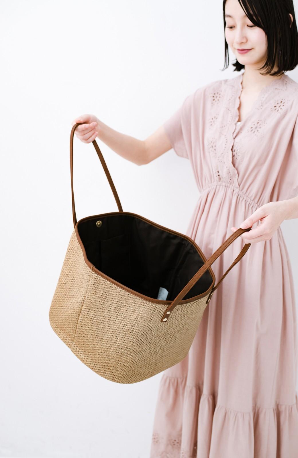 haco! ピクニックにも毎日のおともにも ざっくり入って便利な大きめトートバッグ <ブラウン>の商品写真7
