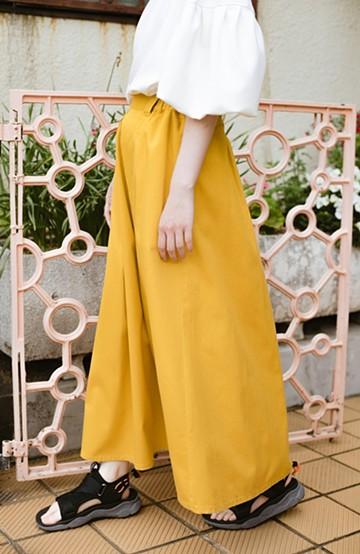 haco! 【今年も再販!】ロングシーズン楽しめる タックボリュームのチノロングスカート <イエロー>の商品写真