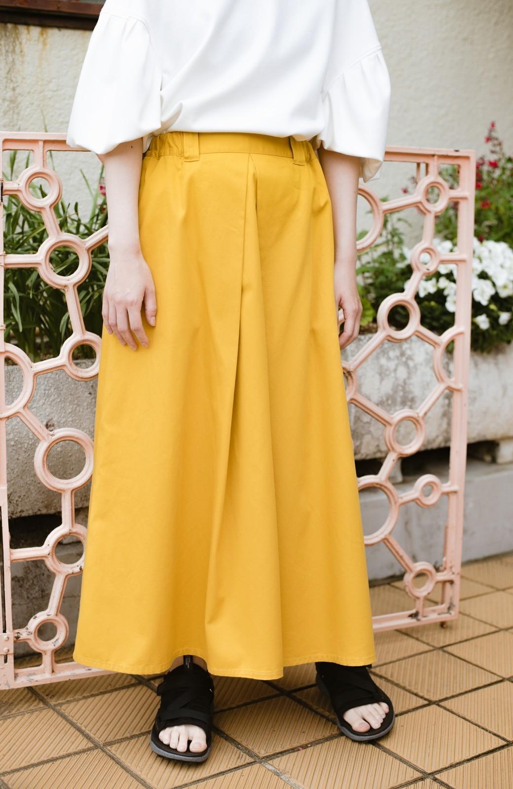 haco! ロングシーズン楽しめる タックボリュームのチノロングスカート <イエロー>の商品写真18