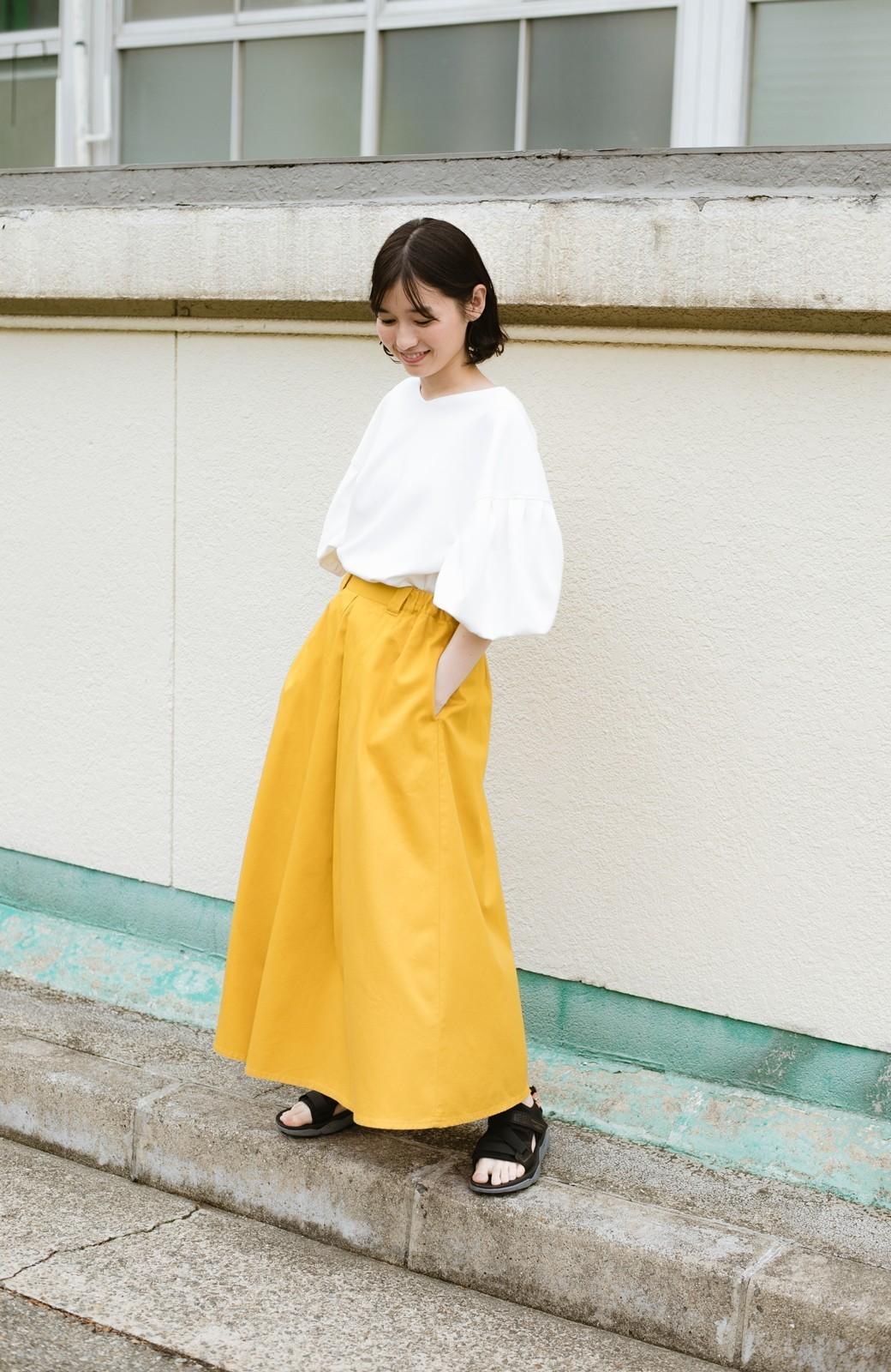 haco! ロングシーズン楽しめる タックボリュームのチノロングスカート <イエロー>の商品写真19
