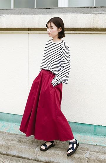 haco! 【今年も再販!】ロングシーズン楽しめる タックボリュームのチノロングスカート <パープル>の商品写真