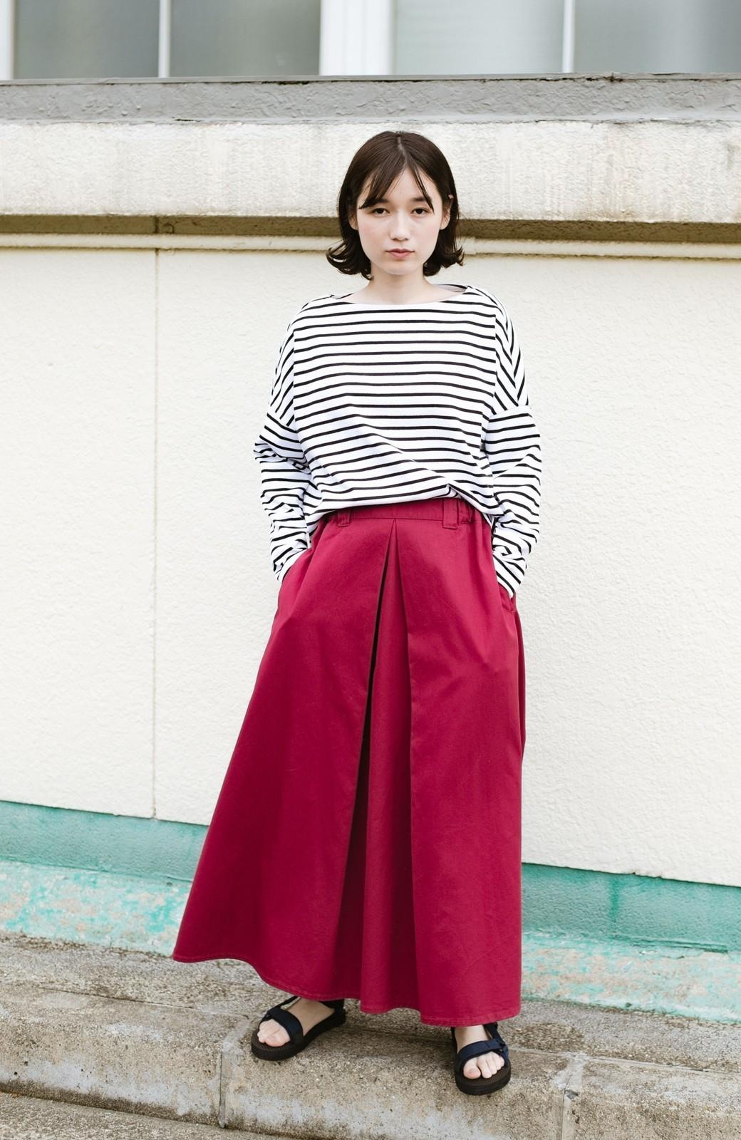 haco! ロングシーズン楽しめる タックボリュームのチノロングスカート <パープル>の商品写真12