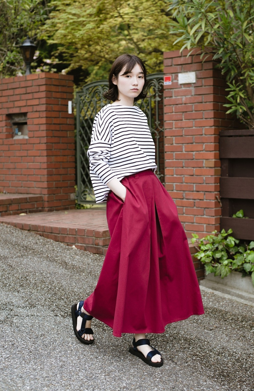 haco! ロングシーズン楽しめる タックボリュームのチノロングスカート <パープル>の商品写真15