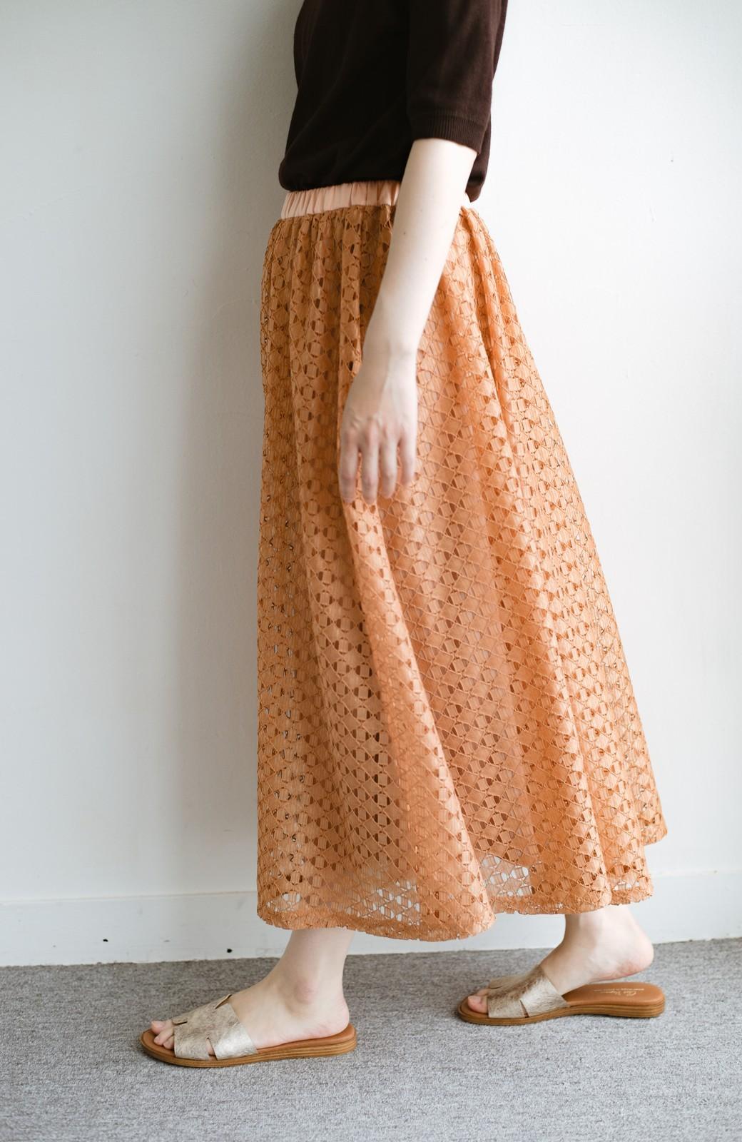 haco! 【洗濯機洗いOK】華やぎコーデを完成させる スクエアレースのカラーロングスカート <オレンジ>の商品写真1