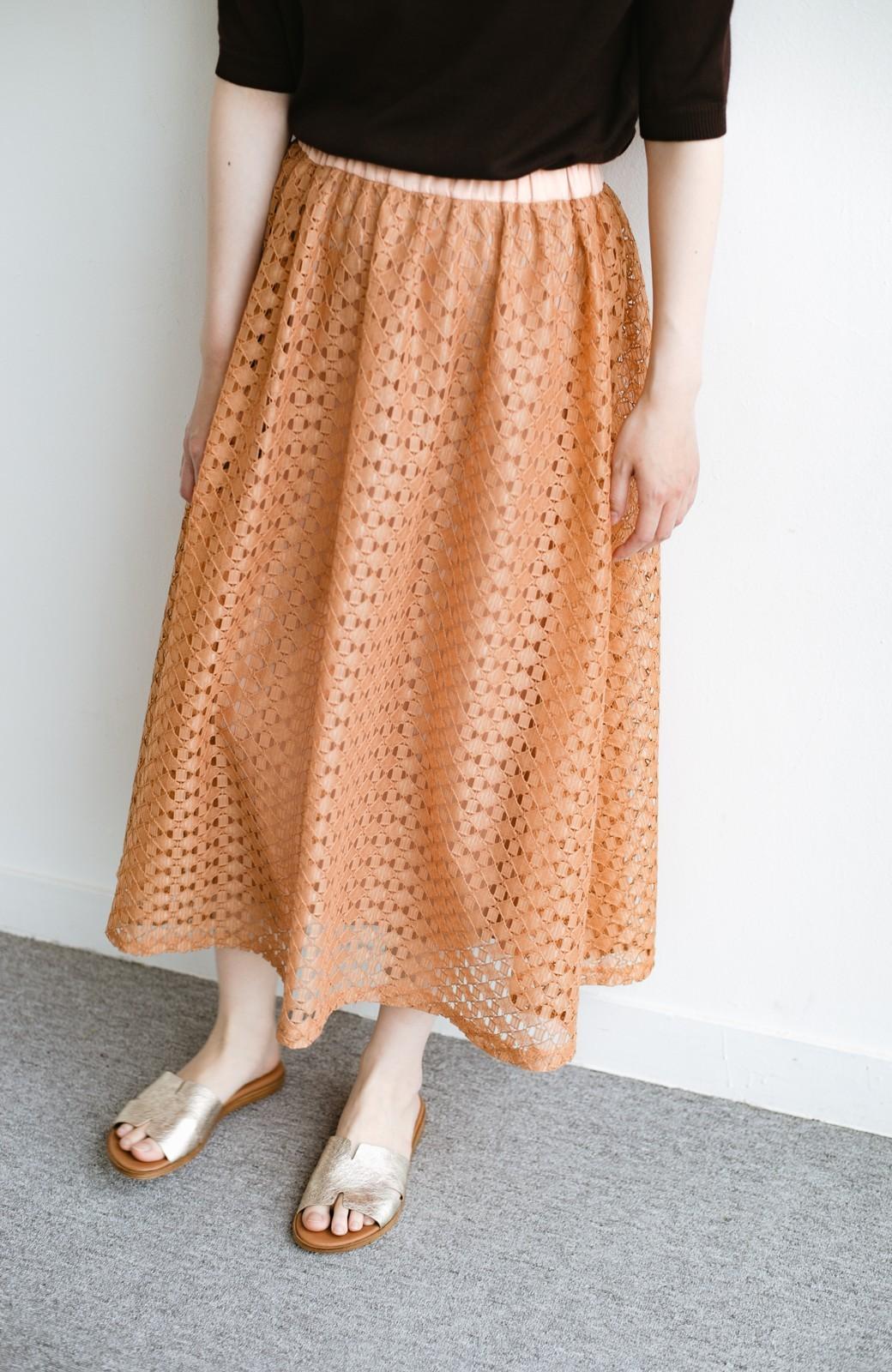 haco! 【洗濯機洗いOK】華やぎコーデを完成させる スクエアレースのカラーロングスカート <オレンジ>の商品写真5